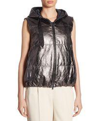 Brunello Cucinelli Multicolor Leather Puffer Vest