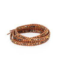 Chan Luu - Metallic Abalone, Crystal & Leather Beaded Wrap Bracelet - Lyst