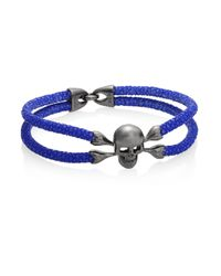 Stinghd - Blue Blackened Silver & Stingray Skull Wrap Bracelet for Men - Lyst