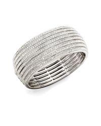 Adriana Orsini - Metallic Eight-row Crystal Encrusted Bangle Bracelet - Lyst