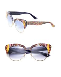 Dolce & Gabbana - Black Sicilian Carretto 52mm Acetate & Metal Cat's-eye Sunglasses - Lyst
