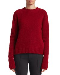 Helmut Lang Red Brushed Wool-blend Sweater