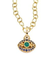 Temple St. Clair | Metallic Evil Eye Diamond, Emerald, Blue Sapphire & 18k Yellow Gold Pendant | Lyst