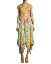 Saloni Multicolor Zuri Handkerchief-hem Floral Silk Dress