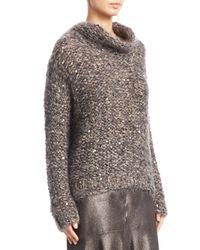Brunello Cucinelli | Gray Mohair Cowlneck Sweater | Lyst