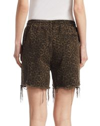 Alexander Wang Multicolor Women's Leopard Print Jogger Shorts - Sage Leopard Print - Size Medium