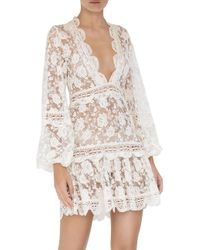 Alexis White Preena Long-sleeve Lace Mini Dress