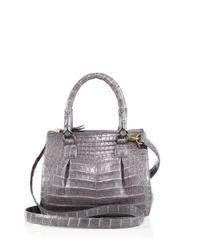 Nancy Gonzalez - Gray Crocodile Mini Pliss & #233 Crossbody Bag - Lyst