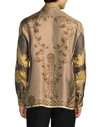 Versace Multicolor Printed Silk Button-down Shirt for men
