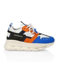 Versace Blue Chain Reaction Colorblock Sneakers for men