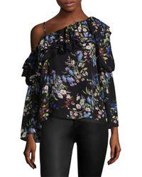 Parker Black Lima Floral Silk One-shoulder Blouse