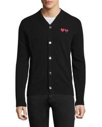 COMME DES GARÇONS PLAY Black Dual Signature Logo Patch Wool Cardigan for men