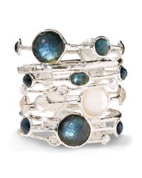 Ippolita - White Wonderland Mother-of-pearl, Clear Quartz & Sterling Silver Six-stone Doublet Bangle Bracelet - Lyst