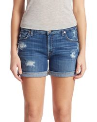 7 For All Mankind | Blue Rolled-cuff Five-pocket Shorts | Lyst