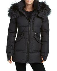 Sam. Black Cruiser Fur-trim Down Puffer Coat