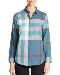 Burberry - Blue Large-check Blouse - Lyst