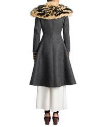 Miu Miu - Gray Shearling & Virgin Wool A-line Coat - Lyst