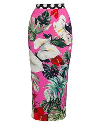 Dolce & Gabbana Pink Tropical-floral Print Charmeuse Midi Pencil Skirt