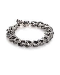 King Baby Studio Metallic Small Feather Carved Link Bracelet for men