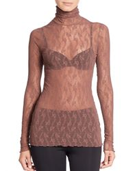 Wolford Red Lilie Turtleneck Top