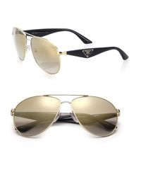 Prada - Metallic 60mm Aviator Sunglasses - Lyst