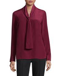 ESCADA - Red Tie-neck Silk Blouse - Lyst