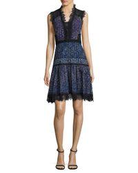Elie Tahari Blue Shanna Floral-print Cotton Eyelet Dress