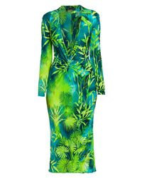 Versace Green Jungle-print Deep V-neck Midi Dress