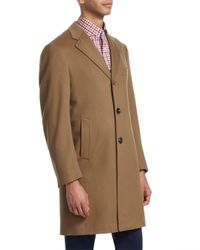 Isaia Brown Ross Notch Lapel Wool Topcoat for men
