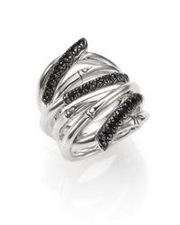 John Hardy - Metallic Bamboo Black Sapphire & Sterling Silver Wide Multi-row Ring - Lyst