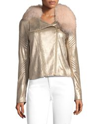 Elie Tahari Multicolor Zia Metallic Leather & Fur Jacket