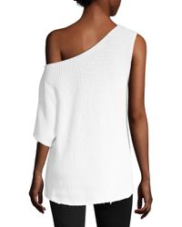 RTA White Sloane One Shoulder Pullover