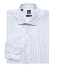 Ike Behar - White Regular-fit Checkered Cotton Dress Shirt for Men - Lyst