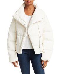 Theory White Women's Asymmetric Puffer Jacket - Ivory