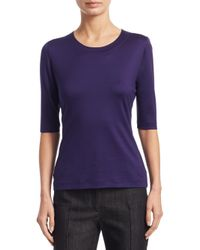 Akris Punto - Purple Three-quarter Sleeve Pullover - Lyst
