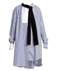 Sacai Blue Velvet Sash Tie Neck Stripe Asymmetric Shirt Dress