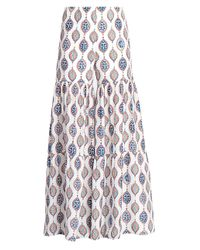 Chloé Blue Ceramic-print Silk Habotai Flare Trousers