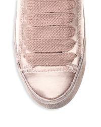 Pedro Garcia - Pink Parson Tonal Satin Low Top Sneakers - Lyst