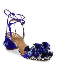 Aquazzura Blue Tropicana Multitoned Sandals