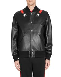Givenchy Black Star Leather Bomber Jacket for men