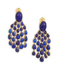 Aurelie Bidermann - Blue Lapis Lazui Chandelier Clip-on Earrings - Lyst