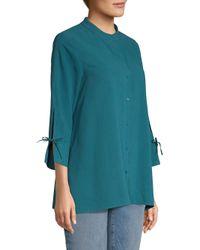 Eileen Fisher Blue Women's Stand Collar Silk Shirt - Dark Jewel
