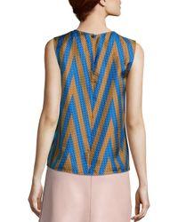 Diane von Furstenberg - Blue Sleeveless Silk Top - Lyst