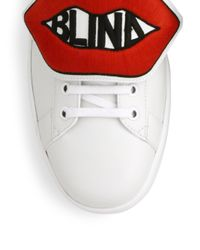 Gucci White New Ace Blind For Love Leather Sneakers for men