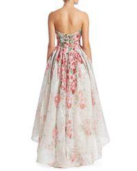 Monique Lhuillier White Women's Strapless Floral Midi Ball Gown - Ivory - Size 6