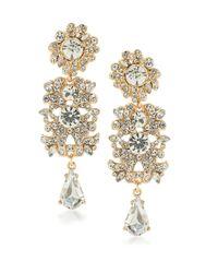 ABS By Allen Schwartz - Metallic Set In Stone Linear Crystal Chandelier Earrings - Lyst