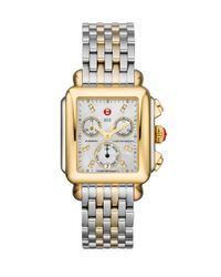 Michele Metallic Deco 18 Diamond, Mother-of-pearl, 18k Goldplated & Stainless Steel Chronograph Bracelet Watch