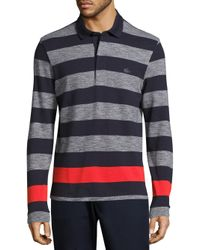 Lacoste - Gray Long Sleeve Engineered Jaspe Stripe Rugby Shirt for Men - Lyst