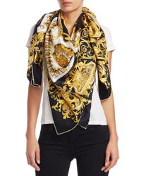 Versace Black Gold Baroque Print Scarf