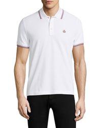 Moncler - White Cotton Polo for Men - Lyst